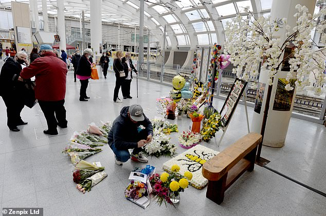 Mourners travelled to Manchester Victoria station on Saturday (pictured) to remember the 22 innocent people who were killed in the Manchester Arena terror atrocity in May 2017