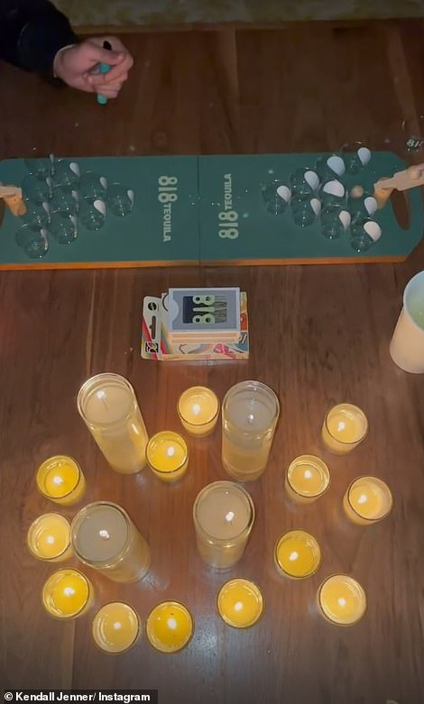 Cute: Other details at the event included 818 branded posters and light-up signs, candles, and a collection of fun games such as tequila pong