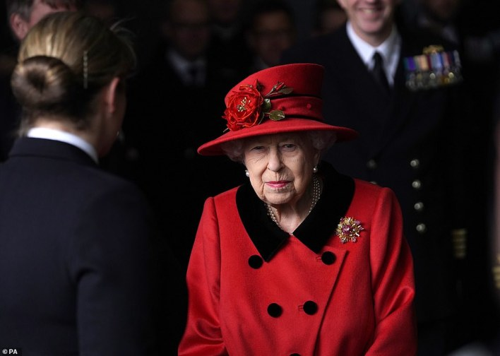 The Queen has visited (pictured) Royal Navy flagship HMS Queen Elizabeth, affectionately known as 'Big Lizzie', in her first public appearance since Prince Harry accused the Royal Family of 'total neglect' in his latest bombshell comments