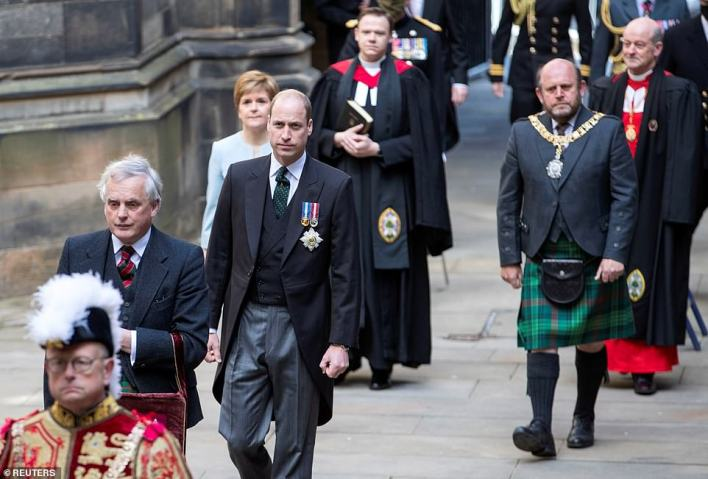 Meanwhile, Prince William visited the General Assembly in Edinburgh today (pictured) after launching an attack on the BBC where he slammed them for ruining Princess Diana's life after her Panorama interview with Martin Bashir in 1995