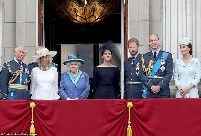 Meanwhile, Prince William slammed the BBC this week for ruining Princess Diana's life after her Panorama interview with 'rogue reporter' Martin Bashir in 1995. Pictured: The royal family watch the RAF flypast in 2018