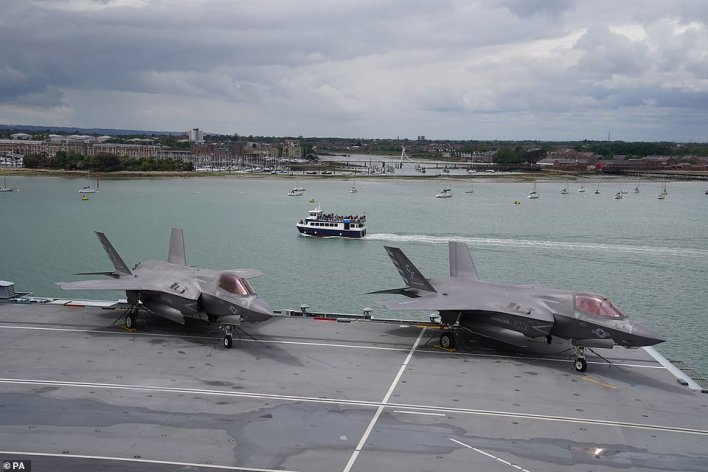 The warship, with F-35B Lightning II jets (above) on board, will depart from Portsmouth this afternoon for a 28-week deployment, accompanied by six Royal Navy ships, a submarine, 14 naval helicopters and a company of Royal Marines
