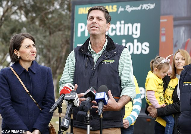 The New South Wales Nationals are set to win a crucial by-election for the coalition and regain the seat for the Upper Hunter (pictured is Nationals candidate David Layzell)