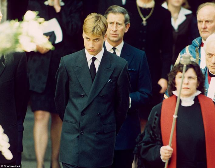 The Duke of Cambridge remembered how he had been at Balmoral when he heard of the death of his mother in 1997, but said he 'found comfort and solace in the Scottish outdoors' as he mourned (Diana's funeral, pictured)