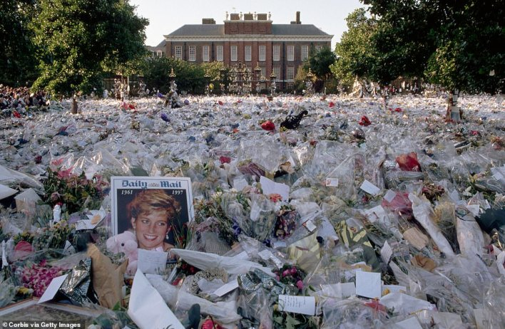 The public reaction to Diana's tragic death in 1997, so different from the quiet grief usually associated with Royal deaths, was, according to courtiers, utterly beyond the Queen's understanding, like semaphore from a distant planet (pictured are flowers at Kensington Palace)