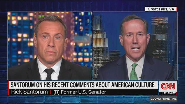 'I was talking about - and I misspoke in this respect - I was talking about the founding and the principles embodied in the founding,' Santorum (right) told Cuomo (left) on May 3