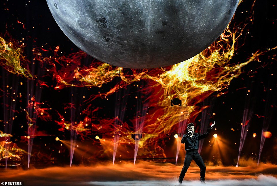 Contestant Blas Canto of Spain performs during the final of the 2021 Eurovision Song Contest in Rotterdam tonight