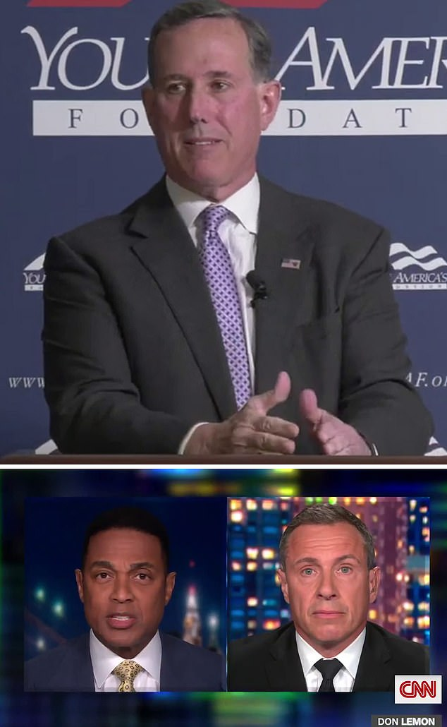 Following Rick Santorum's (pictured top) April comments where he told students 'there isn't much Native American culture in American culture,' CNN host Don Lemon (bottom left) tore into Santorum for not apologizing during an appearance on Chris Cuomo's (bottom right) 'Cuomo Prime Time,'