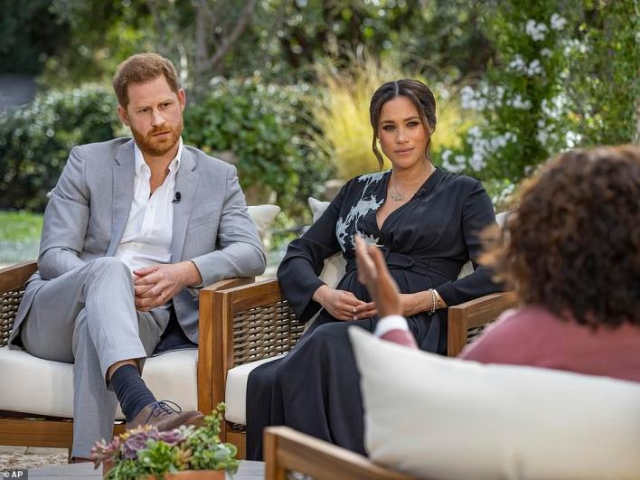 Royal sources say the Monarch has been shaken by Harry's repeated comments since the devastating interview that he and wife Meghan gave to Oprah Winfrey in March (pictured)