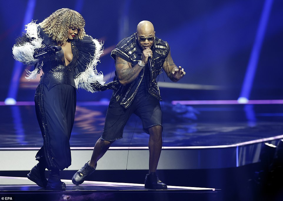 American rapper Flo Rida and Senhit from San Marino perform together in front of thousands of fans at the arena