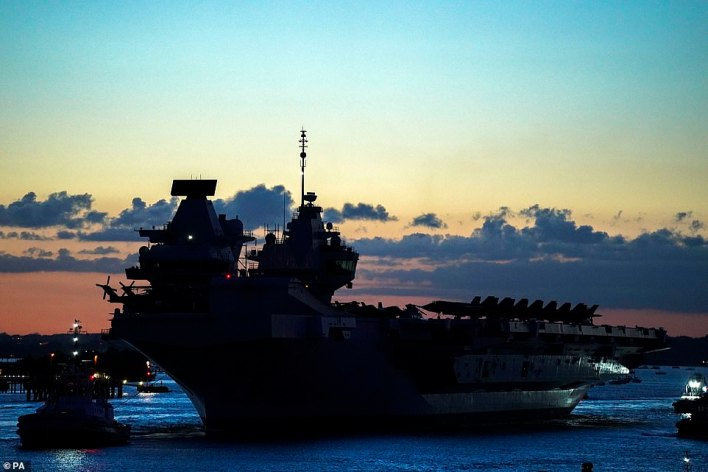 HMS Queen Elizabeth departs HM Naval Base, Portsmouth, for her maiden deployment to lead the UK Carrier Strike Group on a 28-week operational deployment