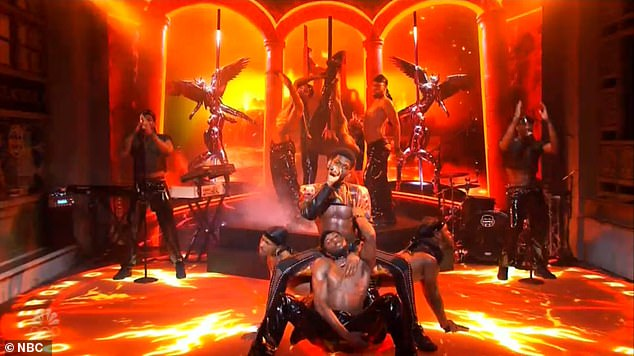 Very sexy: While performing his controversial hit song Montero (Call Me By Your Name) on the NBC's Emmy Award-winning late-night comedy, the 22-year-old rapper gyrated and danced next to a stripper pole with a slew of shirtless backup dancers