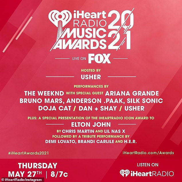Airing Thursday on Fox! And Lovato is 'so honored' to join Brandi Carlile and H.E.R. to perform a tribute to Icon Award winner Elton John at the 2021 iHeartRadio Music Awards