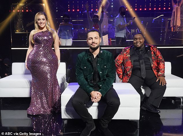 Third place finish: Kinstler was the first to be eliminated from the finale, leaving Chayce Beckham (center) and Willie Spence (right) as the last two singers standing