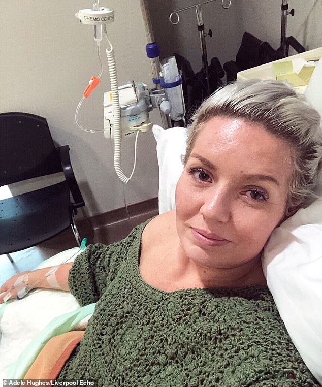 Adele said she started using tan beds in Liverpool aged 16 and never considered the effects it could have on her skin, pictured in hospital