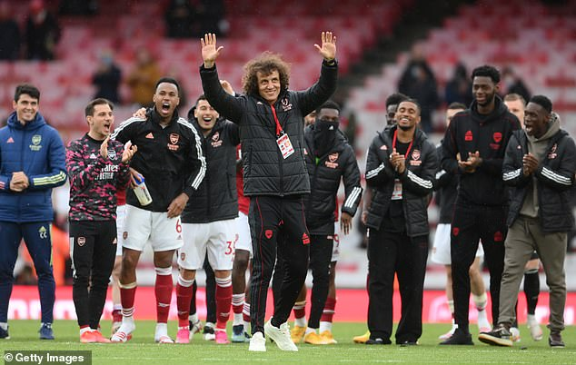 Luiz (centre) will leave Arsenal next month and was given a send-off following the win against Brighton