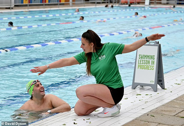 Work work work:The former TOWIE star, 33, posed for pictures at the London Field Lido in Hackney and revealed he has signed up to the Better Swim Doctor programme to help keep him focused and on track ahead of International Learn to Swim Week