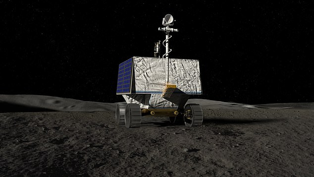 The space agency plans to send the rover, named VIPER (artist impression), to explore the lunar south pole to look for water ice and other resources that could be harvested by humans