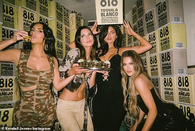 'The other night':KUWTK star Kendall Jenner (2-L) has also shared more behind-the-scenes snaps of her star-studded 818 Tequila launch party at West Hollywood hotspot The Nice Guy