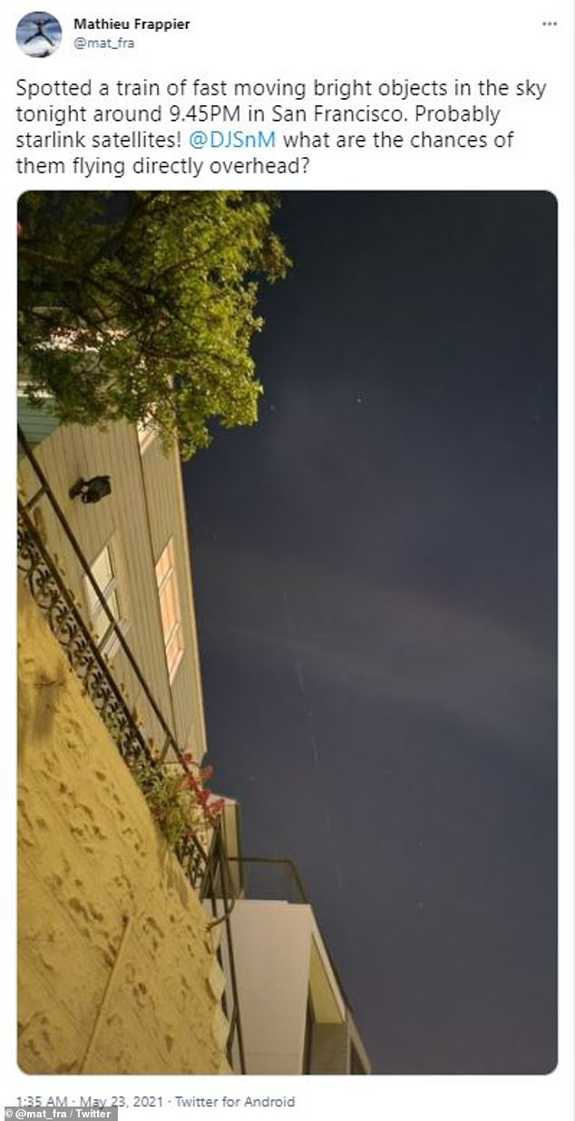 Although some i had hoped it was visitors from another planet, the chain of light was from Elon Musk's Starlink satellites that launched into orbit on May 9
