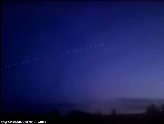 A number of videos and images of the light show were shared on Twitter, with users wondering if they were seeing an alien ship streak across the sky
