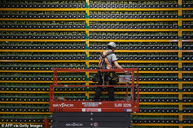 The catalyst for the Sunday slump was cryptocurrency 'miners' - who mint cryptocurrencies by using powerful computers to solve complex maths puzzles - halting Chinese operations in the face of increasing scrutiny from authorities