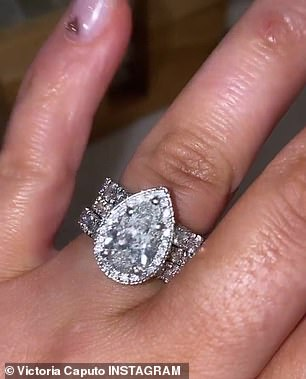 She showed off images of her wedding rings on social media as well