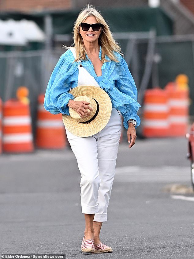Day on the water:It was a family outing this weekend for blonde bombshell Christie Brinkley and two of her three kids. The Sports Illustrated Swimsuit Edition model, 67, was seen on a dock in Sag Harbor on Long Island in New York in her best summer attire
