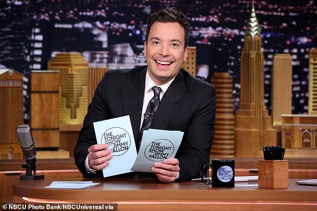Back to business: The Tonight Show with Jimmy Fallon and The Late Show with Stephen Colbert will be resuming production in front of a live, vaccinated studio audience next month, it was revealed on Monday
