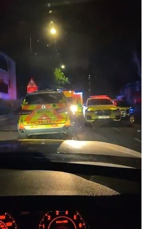 Snapchat footage emerged showing how the area was swamped by police and crowds outside the property in the aftermath of the shooting