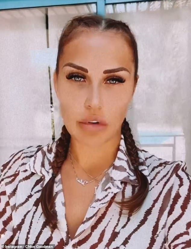 Hitting back:Chloe Goodman has thrown her support behind sister Lauryn by slamming her ex Kyle Walker for leaving his son Kairo out of a pair of tailored football boots