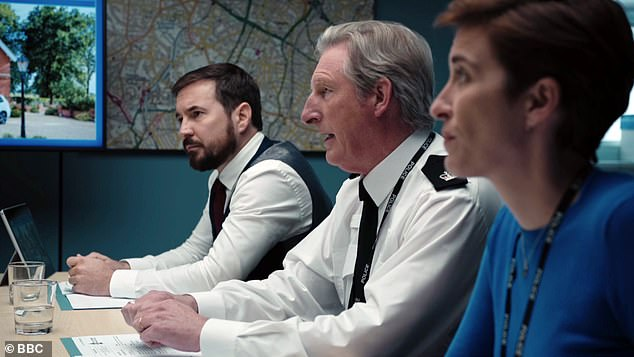 Three's company:Line of Duty stars Adrian Dunbar, Martin Compston and Vicky McClure are also in contention for the Drama Performance award, while the show features separately in the Returning Drama category