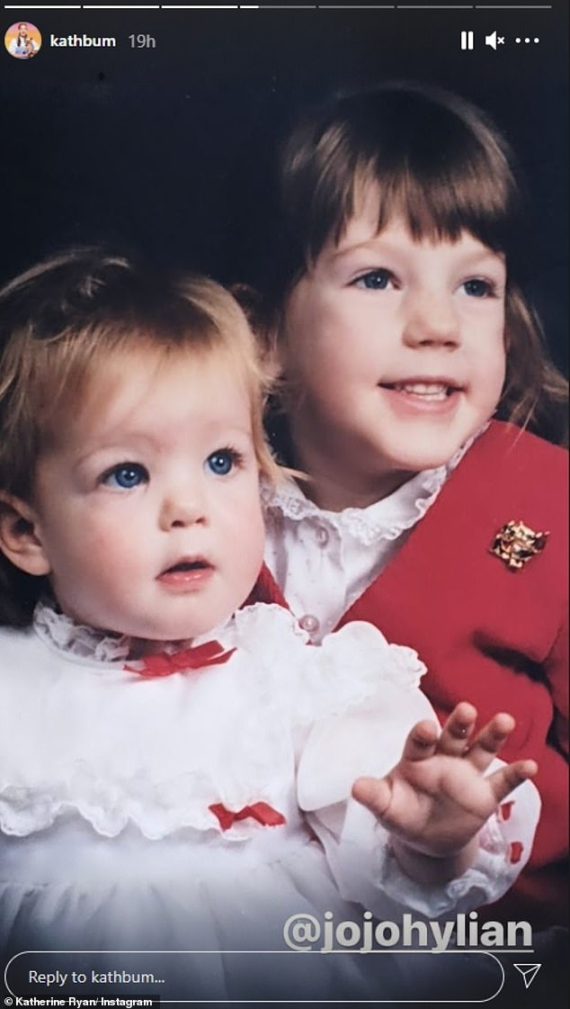 Siblings: In one sweet photograph, the actress beamed as she posed with her younger sister Joanne
