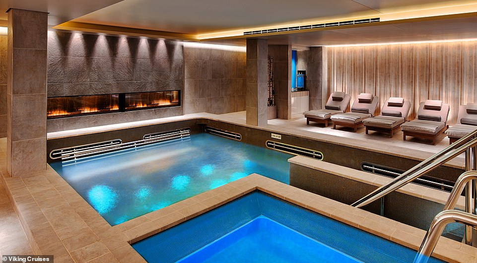Take the plunge: A Scandi-themed spa is the big draw on Viking cruises. Pictured, the pool room on the Viking Star