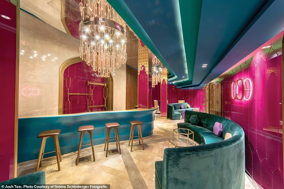 CINEMA EXOTICA, SHANGHAI, CHINA: Cinema Exotica is inspired bythe traditions and mythologies of the Arabian culture. Pictured is the bright VIP lounge. Wong says: 'Colorful, vibrant, and hypnotic, the space is filled with sensuality and excitement'