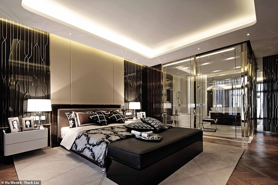 GOLDEN EYE LUXURY HOUSE, JIANGSU, CHINA: Pictured is the master suite at Golden Eye. Through the glass wall in this image you can see the Golden Bathroom, with its freestanding bath