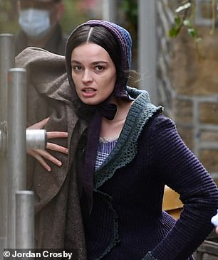 Transformation: Dressed in her costume Emma was world's away from her edgy Netflix character Maeve Wiley