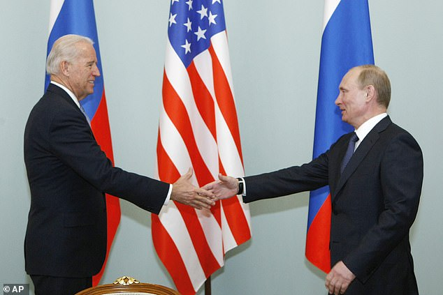 WE MEET AGAIN: The meeting will come on Biden's first foreign trip as president, and after he meets G7 and NATO allies.In this March 10, 2011, file photo, then Vice President Joe Biden, left, shakes hands with Russian Prime Minister Vladimir Putin in Moscow