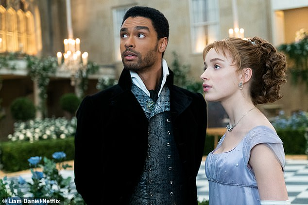 Star: Phoebe recently said co-star Regé-Jean Page's exit from the next series of Bridgerton 'put a spanner in the works' (pictured in show)