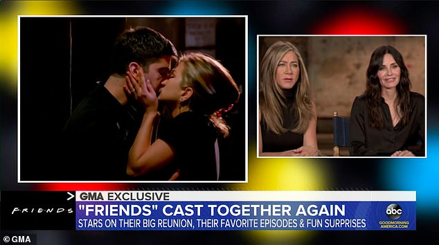 Tears:The cast of Friends took a trip down memory lane on Good Morning America on Tuesday. Jennifer Aniston and pal Courteney Cox shared they recently watched the one where Ross (David Schwimmer) and Rachel (Aniston) got together