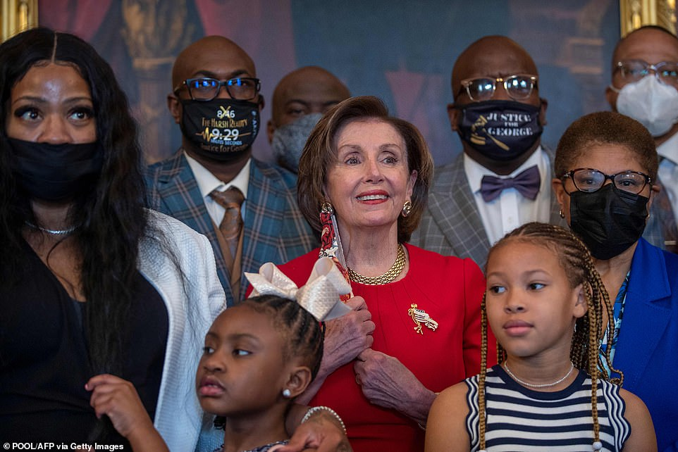 House Speaker Nancy Pelosi said Tuesday that Gianna Floyd (pictured lower left) was right when she said: 'My daddy will change the world'