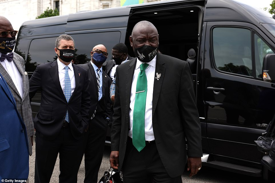 The Floyd family attorney Ben Crump (in green tie) accompanied them for the trip. He emerged from a van after being transported from the Capitol to the White House