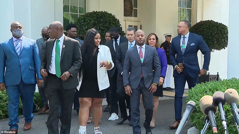 Floyd's family, friends and lawyers emerged from the Oval Office after a meeting with President Joe Biden and Vice President Kamala Harris on Tuesday afternoon