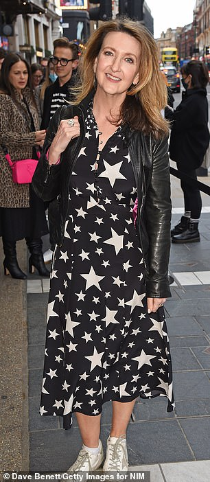 Read all about it: Victoria Derbyshire wore a black and cream star-detailed dress, paired with a black leather jacket
