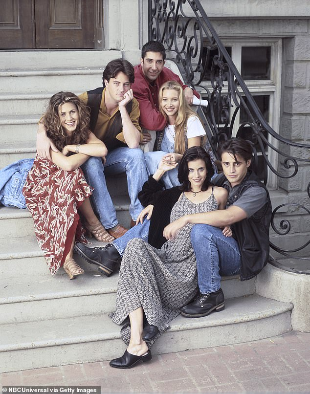 The past is back:'Court and I watched it the other day just to catch up on some stuff,' Aniston said. 'We laughed and cried and - yeah. Their first kiss, Ross and Rachel, that was - ugh! It was so powerful,' Cox said