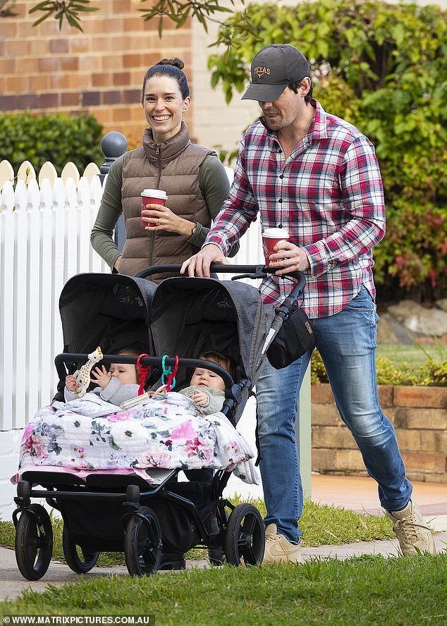 Style:The children's entertainer also wore a cap and sipped on a take-away coffee after visiting a local café