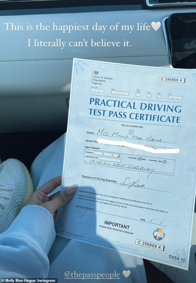 'The happiest day of my life!':It comes after Molly-Mae announced she had passed her driving test on Wednesday during her second attempt, after her first test left her 'traumatised'