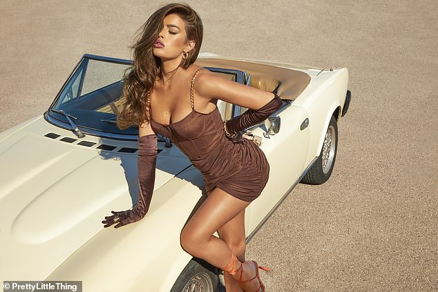Stunning: Tamara wowed in a brown mini dress which featured a brown corset top, gold chain link straps and ruched fabric