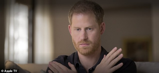 Treatment:Prince Harry, 36, was seen tapping his shoulders with his arms crossed and his eyes closed while having Eye Movement Desensitisation and Reprocessing therapy (EMDR)