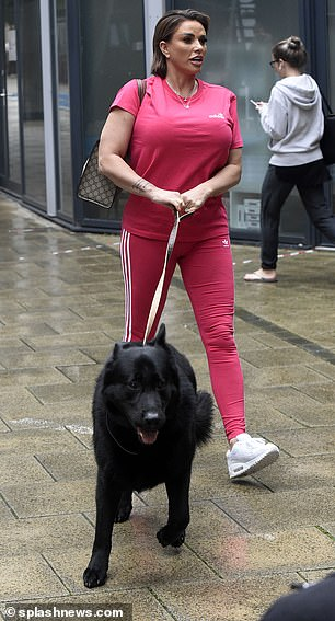 Out and about: The former glamour model, 43, and her former Love Islander beau, 32, were joined by two pooches for the outing